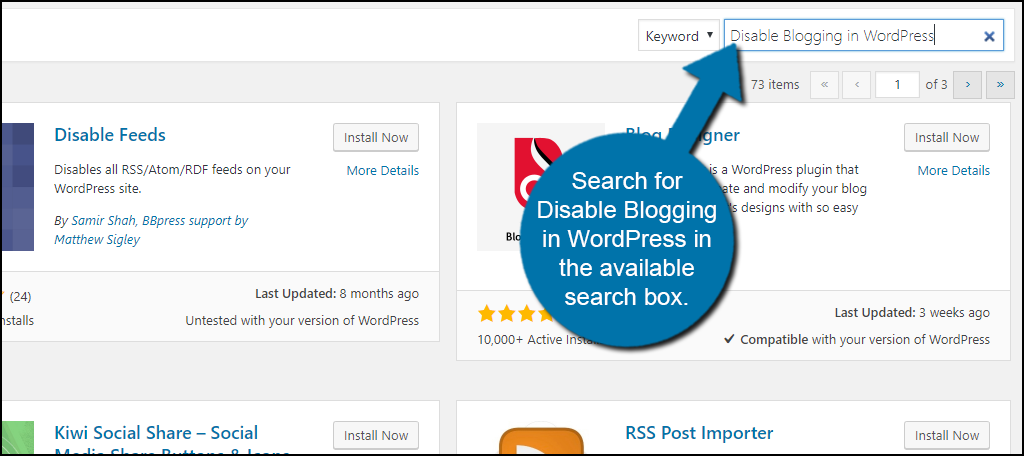 Search for Disable Blogging in WordPress in the available search box