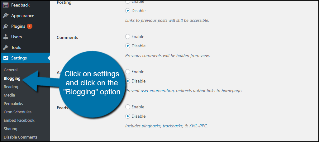 """click on the """"Blogging"""" option."""
