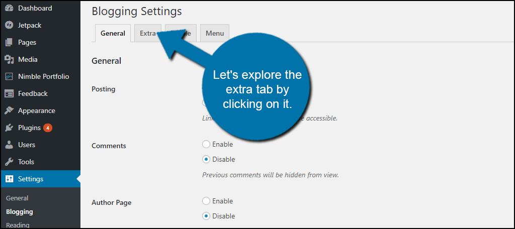 Let's explore the extra tab by clicking on it.