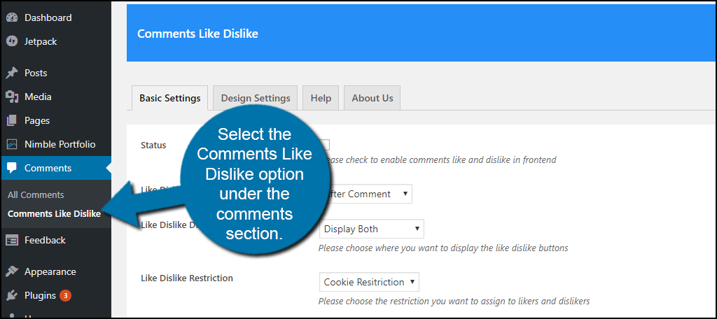 select the Comments Like Dislike option under the comments section.