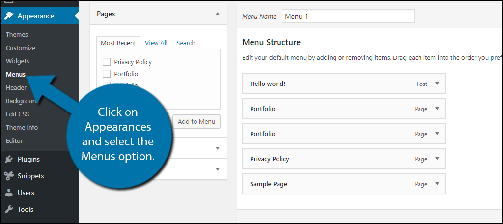 click on Appearances and select the Menus option.