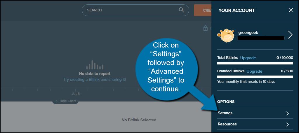 Click on Settings and Advanced Settings