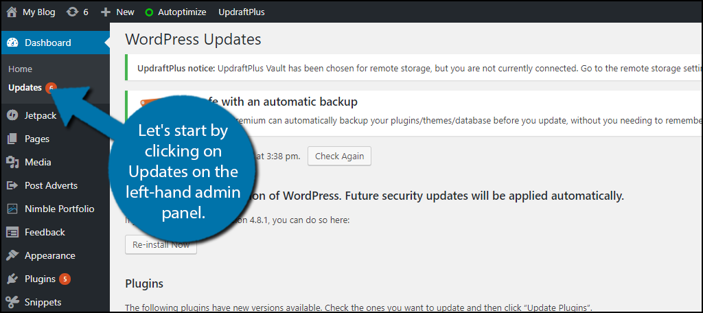 Let's start by clicking on Updates on the left-hand admin panel.