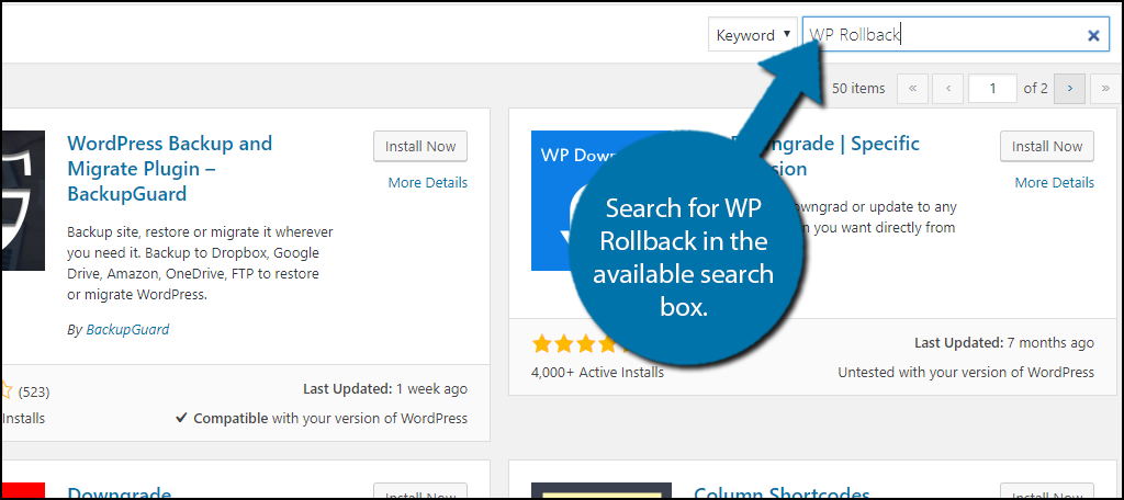 Search for WP Rollback in the available search box.