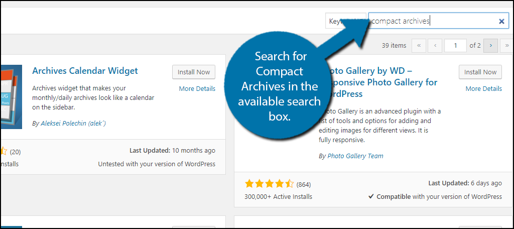 Search for Compact Archives in the available search box.