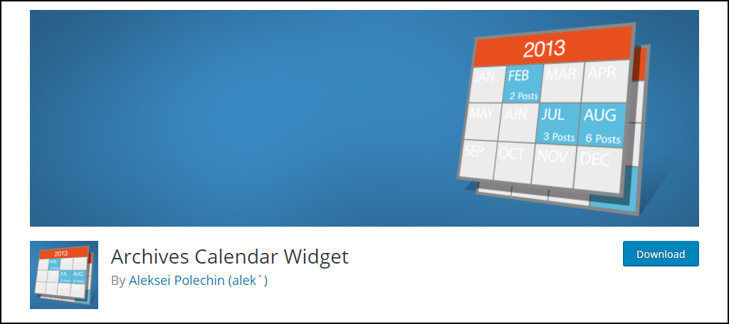 Archives Calander Widget