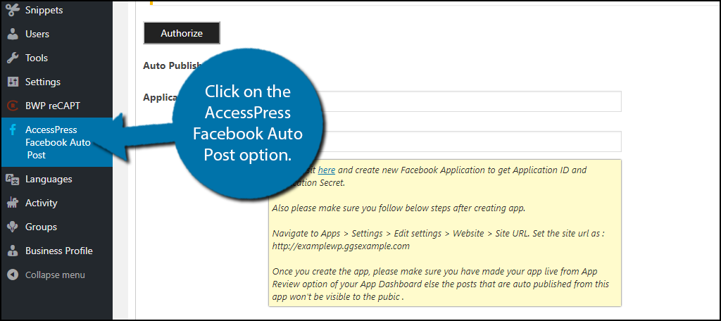 click on the AccessPress Facebook Auto Post option.