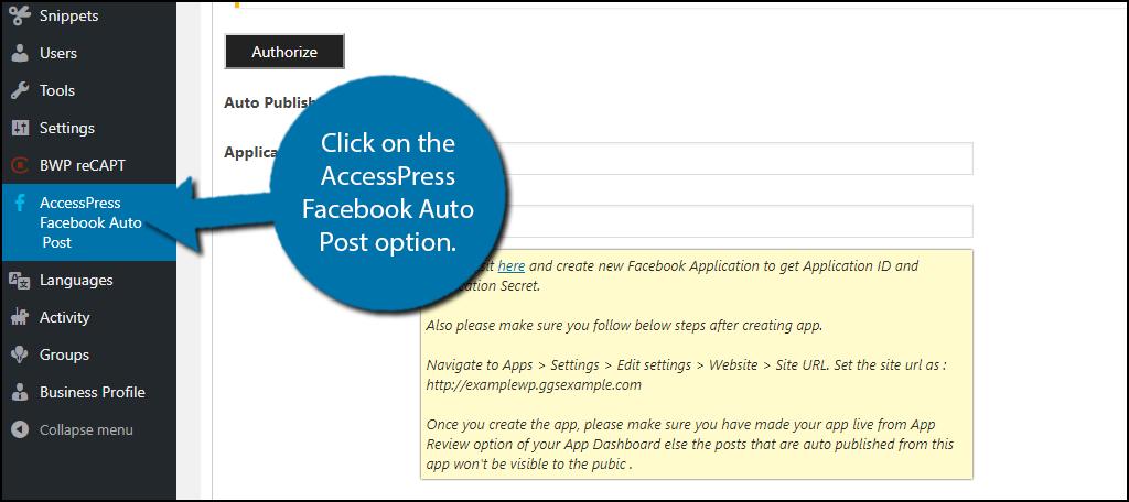 click on the AccessPress Facebook Auto Post option.