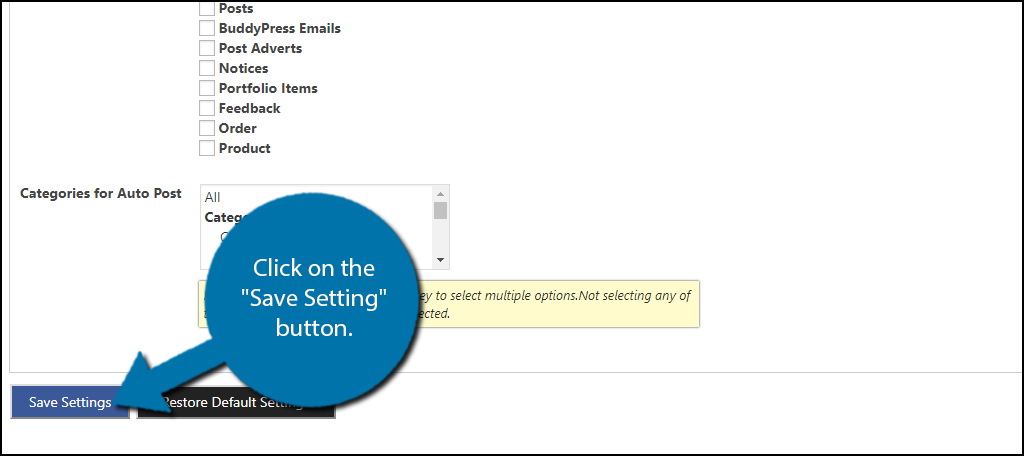 "click on the ""Save Setting"" button."