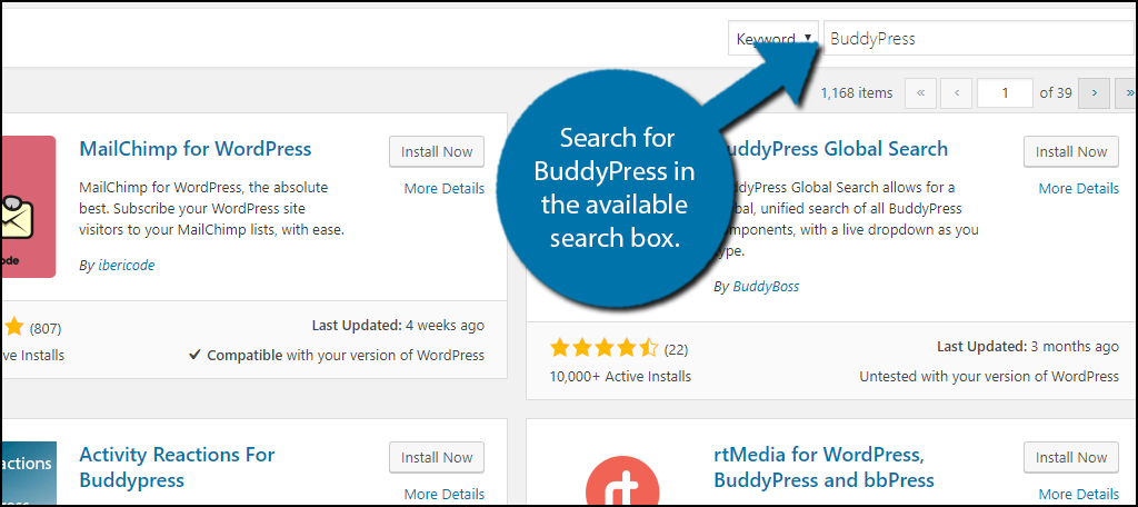 search for BuddyPress in the available search box.
