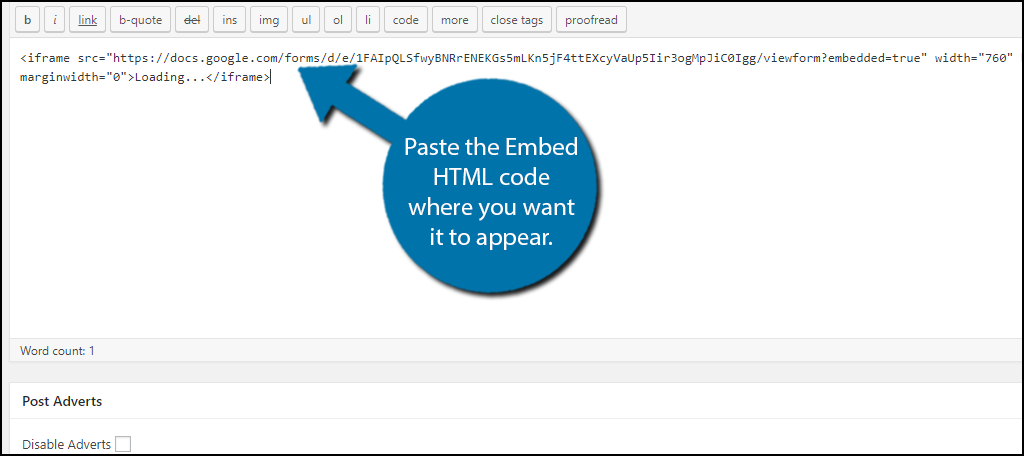 paste the Embed HTML code