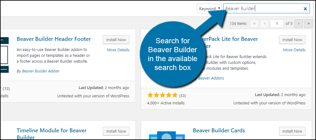 Search for Beaver Builder in the available search box.