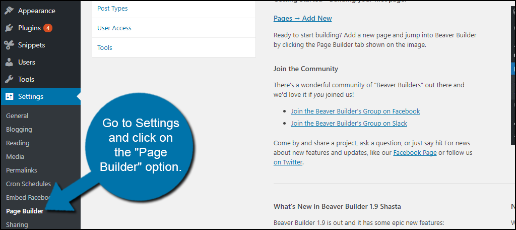 "click on the ""Page Builder"" option."