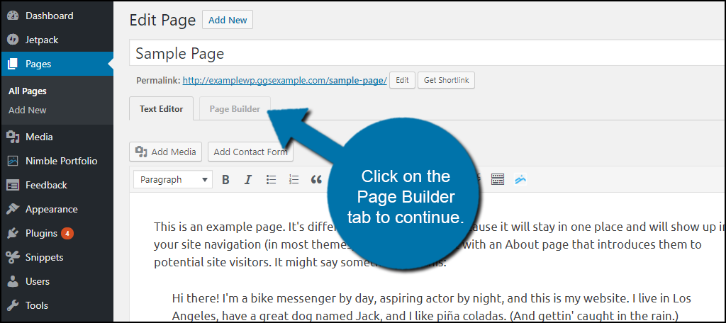 Click on the Page Builder tab to continue.