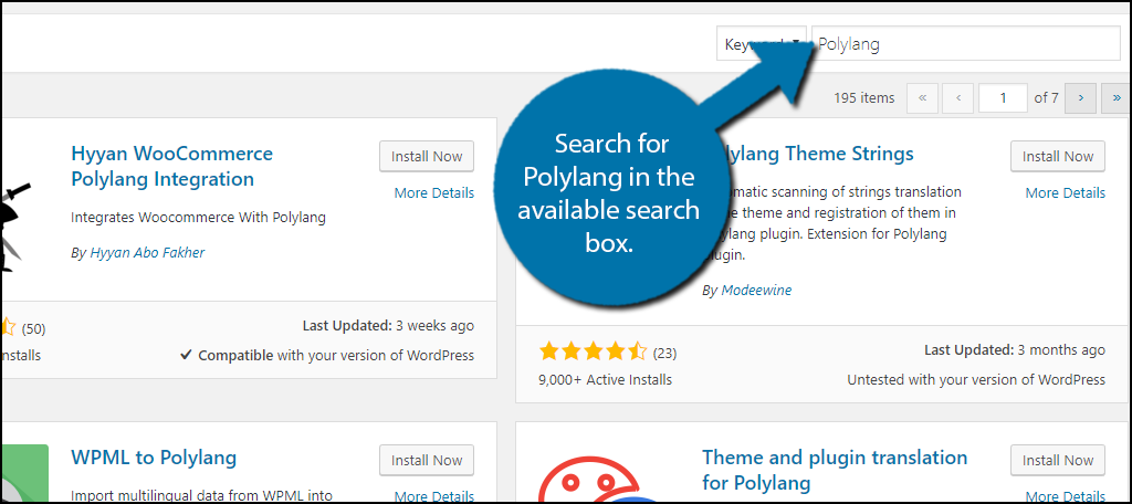 Search for Polylang in the available search box.