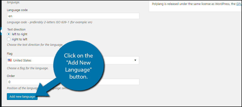"Click on the ""Add New Language"" button to save this language information"