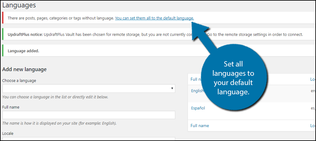 set all languages to your default language.
