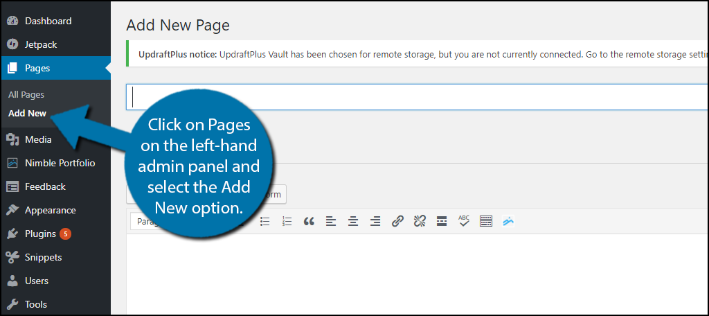 Let's click on Pages on the left-hand admin panel and select the Add New option.