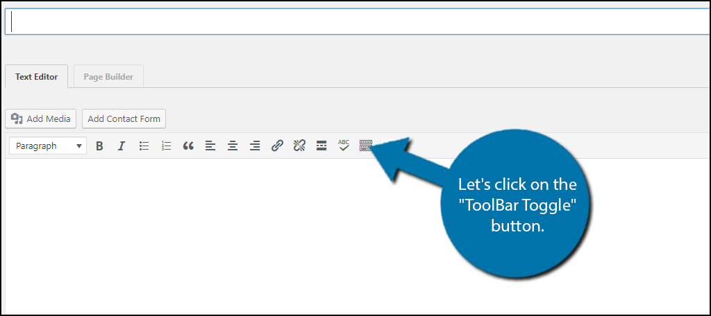 "Let's click on the ""ToolBar Toggle"" button."