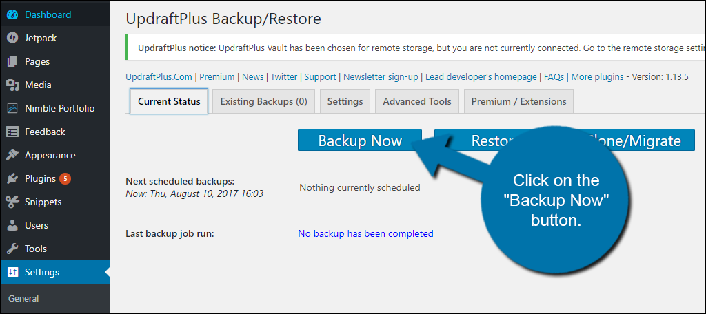 """Backup Now"" button."