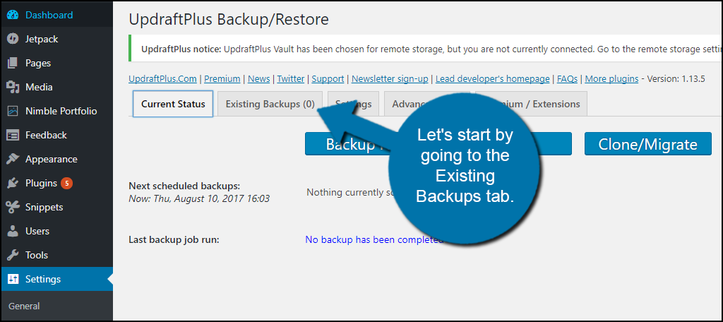 Existing Backups tab.
