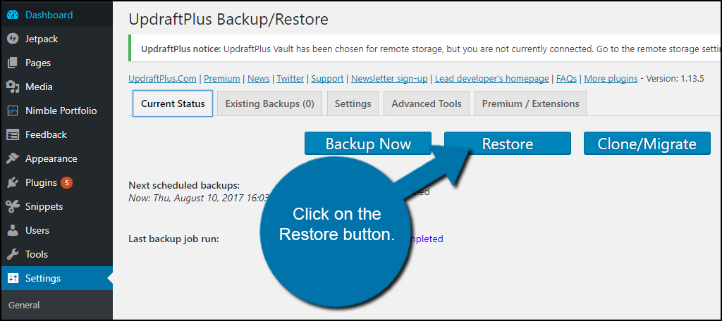 Restore button.