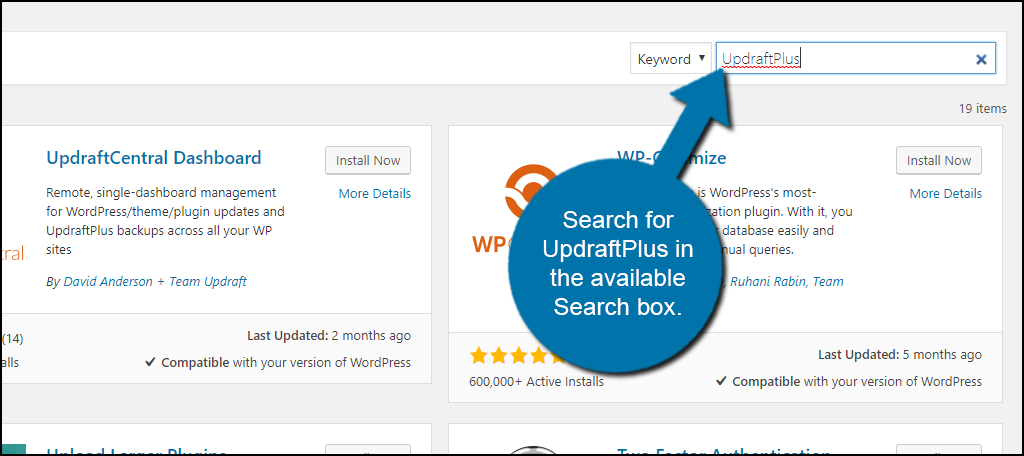 Search for UpdraftPlus in the available Search box.