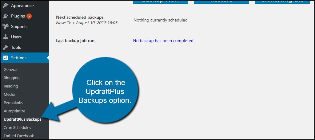 click on the UpdraftPlus Backups option.