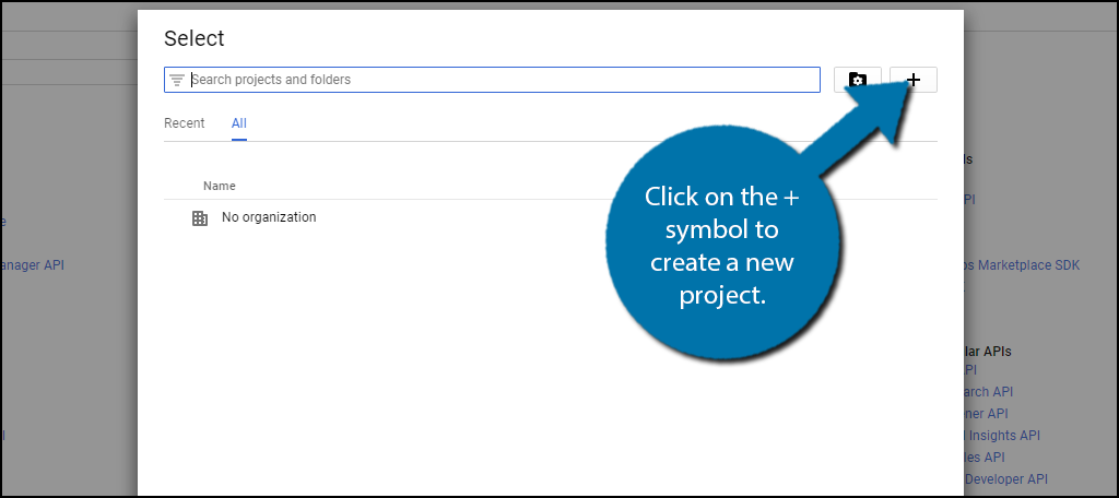 click on the + symbol to create a new project.