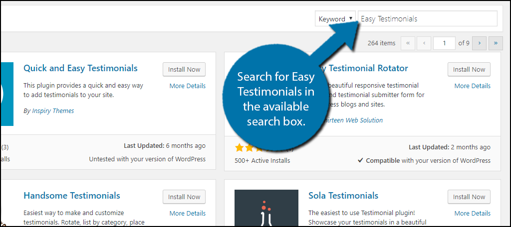 Search for Easy Testimonials in the available search box.