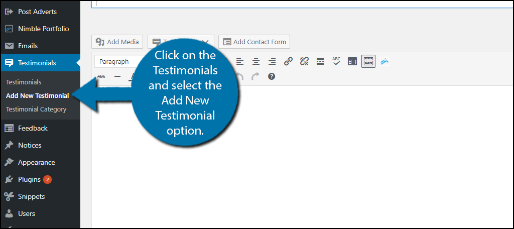 click on the Testimonials and select the Add New Testimonial option.