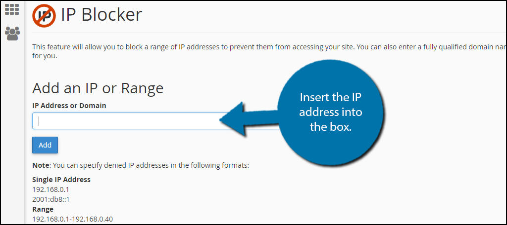 Insert the IP address into the box
