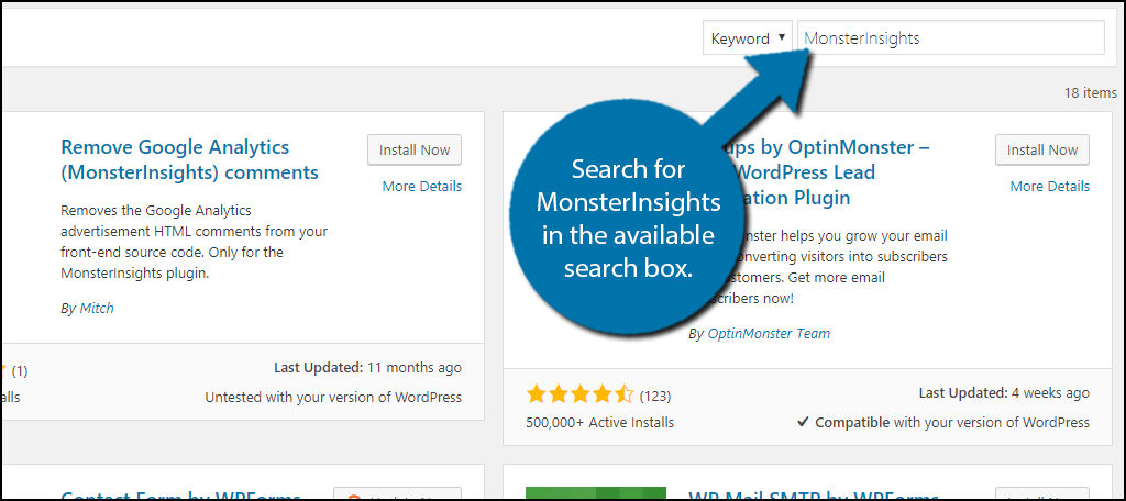 Search for MonsterInsights in the available search box.