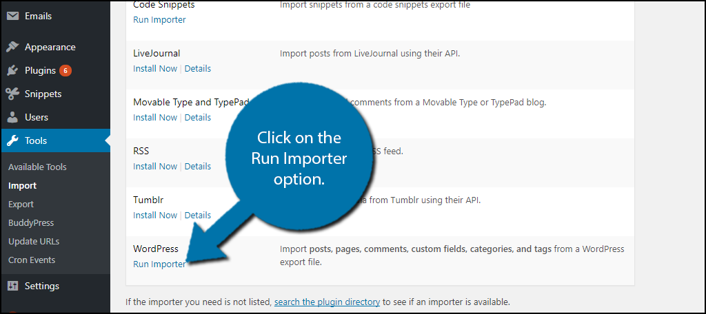 click on the Run Importer option.
