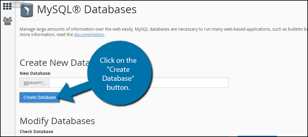 "click on the ""Create Database"" button."