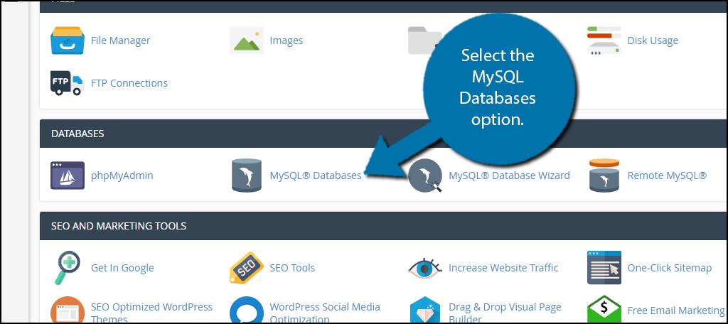 select the MySQL Databases option.