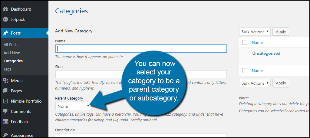 parent category or subcategory