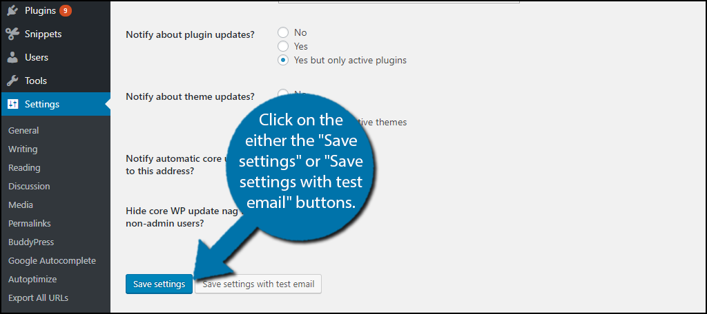 "click on the either the ""Save settings"" or ""Save settings with test email"" buttons."