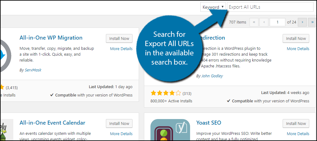 Search for Export All URLs in the available search box.