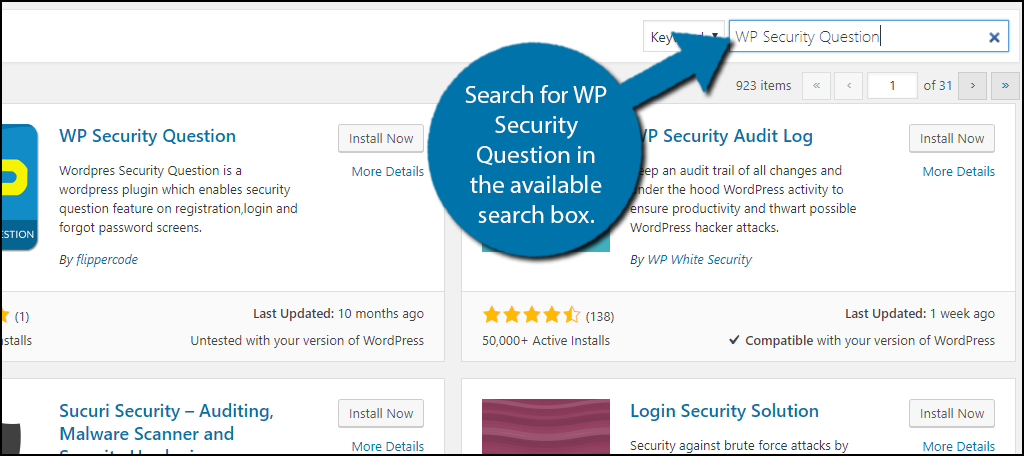 Search for WP Security Question in the available search box.