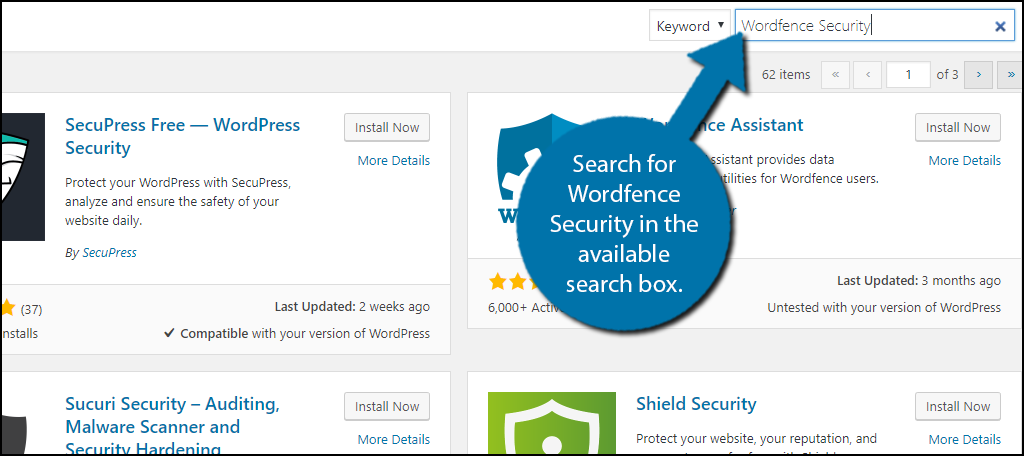 Search for Wordfence Security in the available search box.