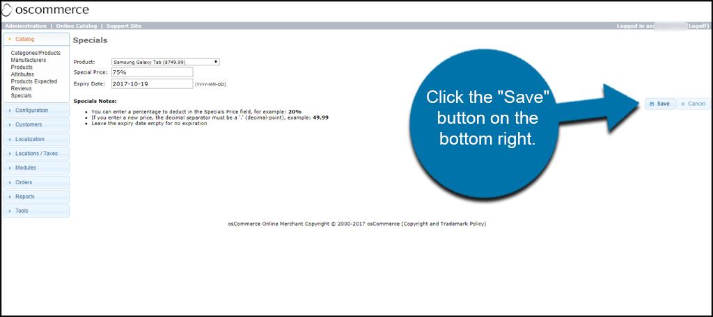 Click Save Button