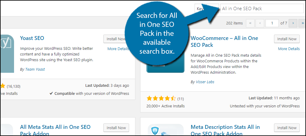 Search for All in One SEO Pack in the available search box.