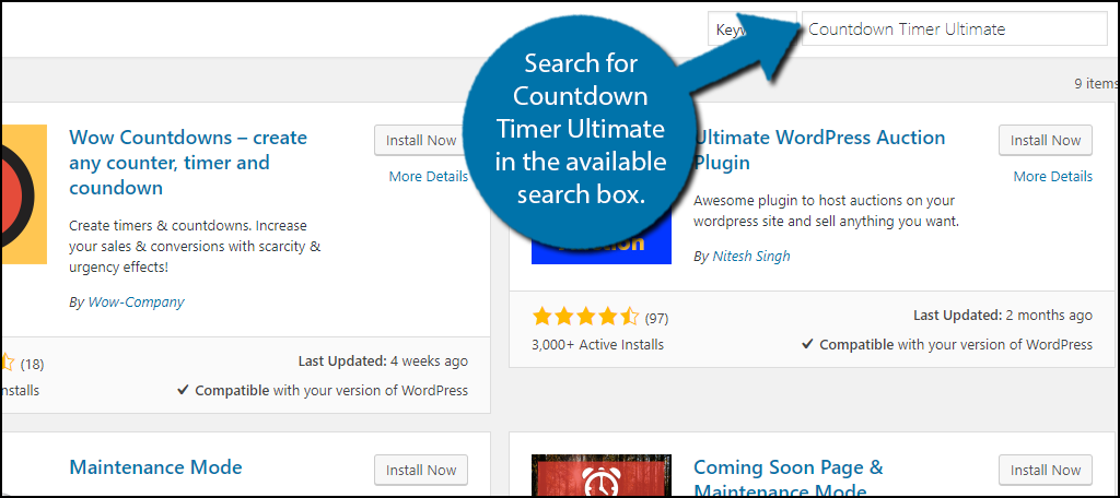 Search for Countdown Timer Ultimate in the available search box.