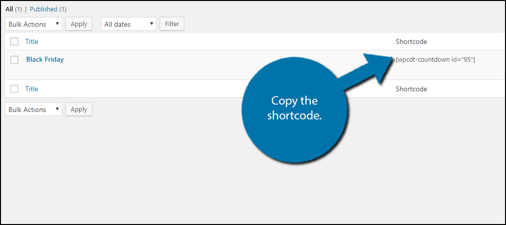 Copy the shortcode and paste it into the content section of your page or post.