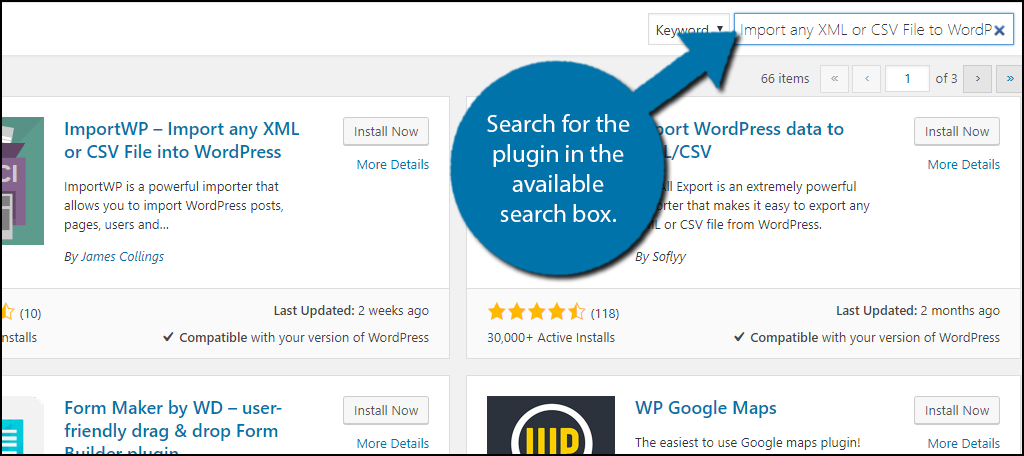 Search for Import any XML or CSV File to WordPress in the available search box.
