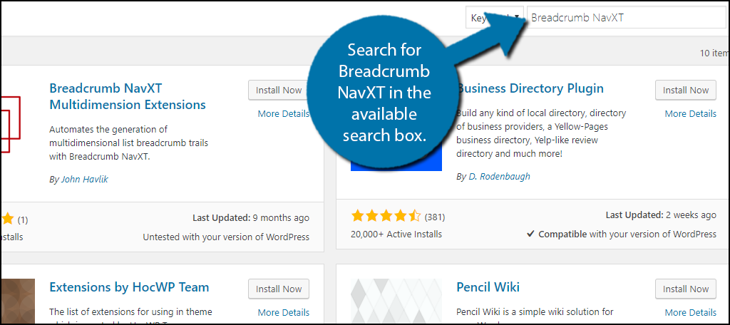 Search forBreadcrumb NavXT in the available search box.