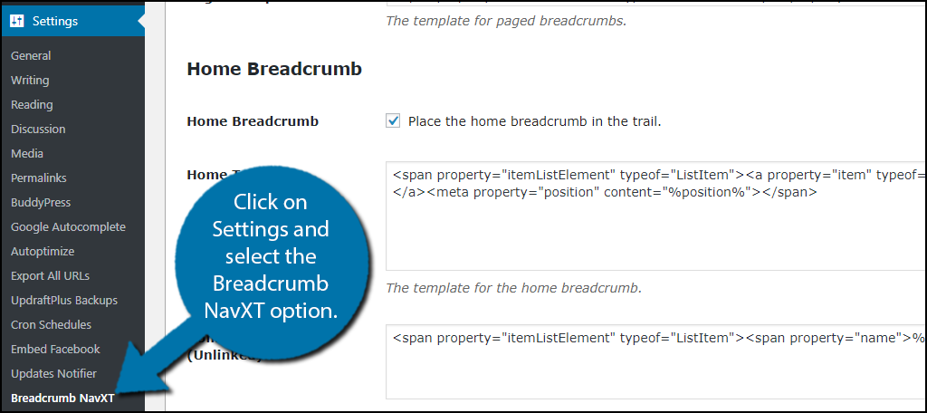 select the Breadcrumb NavXT option.