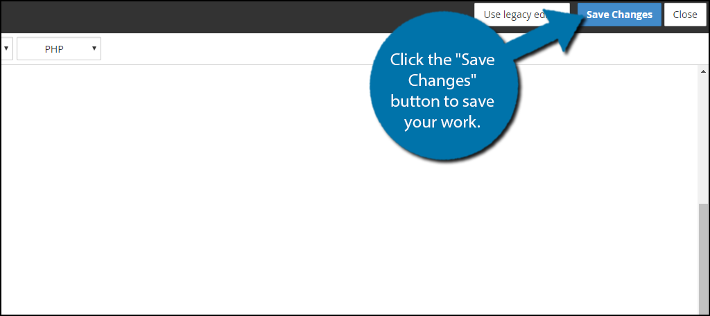 "Click the ""Save Changes"" button to save your work."