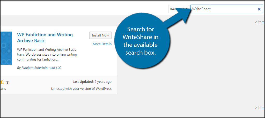 Search for WriteShare in the available search box.